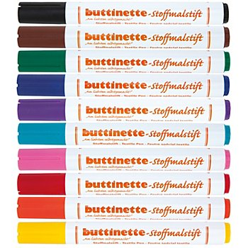 buttinette Stoffmalstifte-Set, 10er-Pack