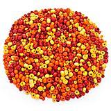 Holzperlenmix, rot-gelb-orange, 3 und 6 mm Ø, 50 g