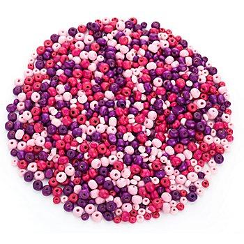 Set de perles en bois, violet/rose vif/rose, 3 et 6 mm Ø, 50 g