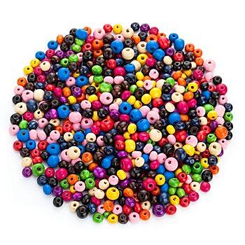 Perles en bois, multicolore, 6 - 8 mm, 50 g