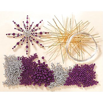 Drahtsterne-Set, lila-silber, 10 Stück