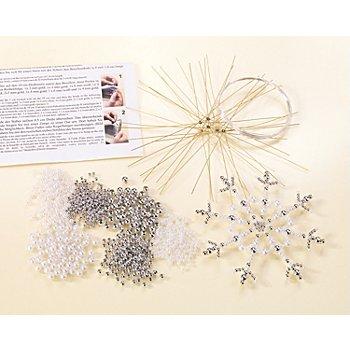 Kit créatif 'flocons de neige en perles', argent/blanc, 6 pièces