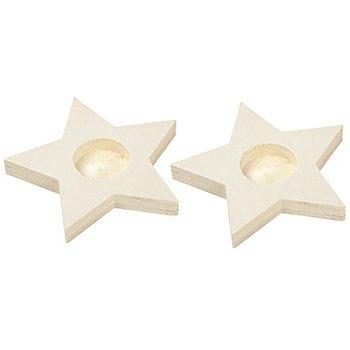 Teelichthalter 'Stern' aus Holz, 2 Stück
