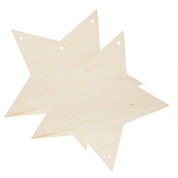 Sterne aus Holz, 20 cm, 2 Stück