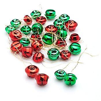 Schellen, rot-grün, 1,5 cm und 2 cm, 30 Stück