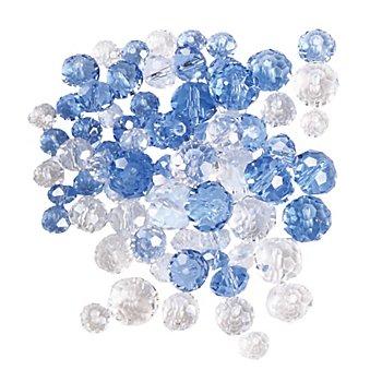 Perles en verre à facettes, bleu clair, 80 pièces