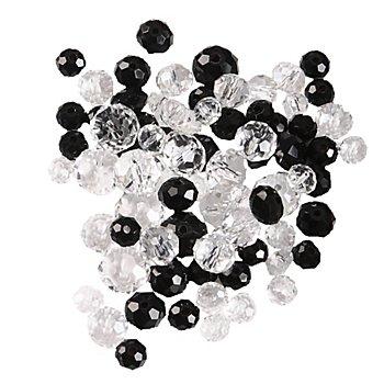 Perles en verre à facettes, noir/transparent, 80 pièces