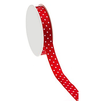 Satin-Tupfenband, rot, 15 mm, 10 m