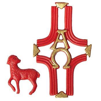 Wachsmotiv 'Lamm und Kreuz'