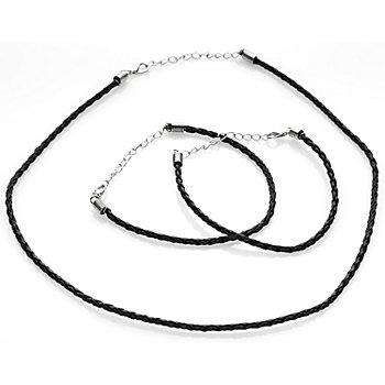 Set de collier et bracelet, noir