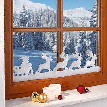 Weihnachtliche Fensterdeko 'Rentiere', 18 cm hoch, 1,9 m lang