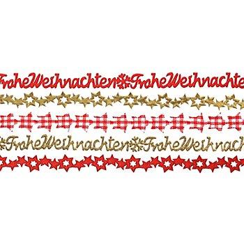 Bänderpaket 'Weihnachten', rot-gold, 10 mm, 5x 1 m
