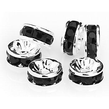 Rondelles de strass 'cristal', argent/noir