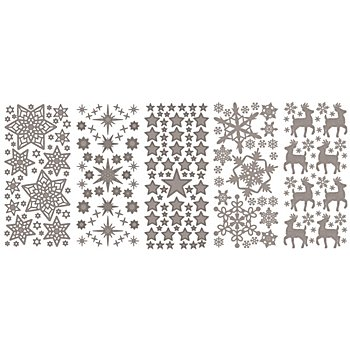 Klebesticker 'Weihnachten I', silber, 23 x 10 cm, 5 Bogen