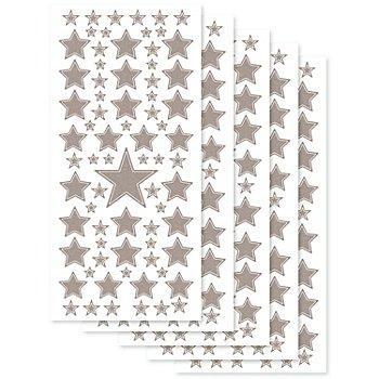 Set stickers à relief, motifs 'étoiles',  argent, 23 x 10 cm, 5 feuilles
