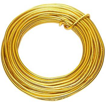 Fil en aluminium, doré, 2 mm Ø, 6 m