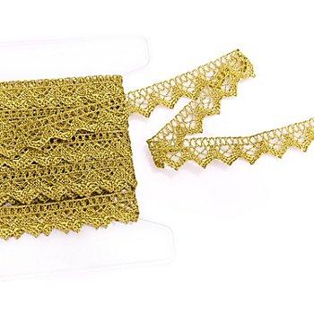 Galon de dentelle aux fuseaux, doré, 2 cm, 5 m