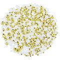 Set de perles, blanc-doré, 3 - 10 mm, 30 g