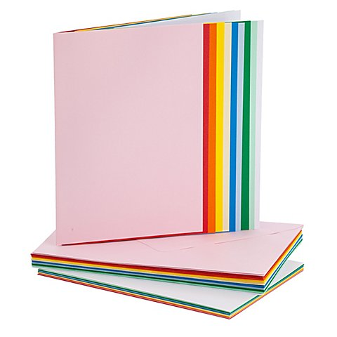 Image of Doppelkarten & Hüllen, bunt, A5 / C5, je 20 Stück
