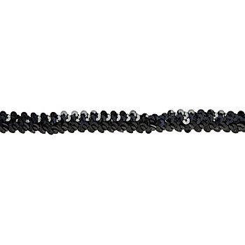 Ruban élastique de paillettes, noir, largeur : 20 mm,  longueur : 3 m