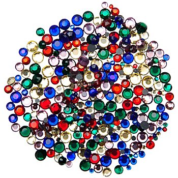 Pierres strass thermocollantes hot fix, multicolore, 2 - 5 mm Ø, 500 pièces