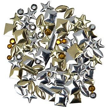 Hot-Fix-Alu-Plättchen, gold-silber, 9 g