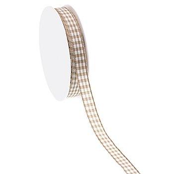 Stoff-Karoband, taupe, 10 mm, 10 m