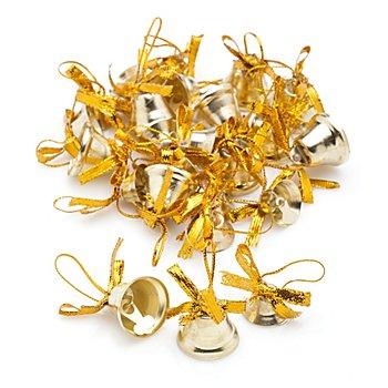 Clochettes en métal, doré, 1,5 cm et 2 cm, 24 pièces