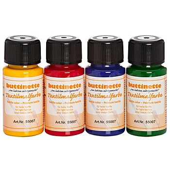 buttinette Stoffmalfarben-Set 'Grundfarben', 4x 50 ml