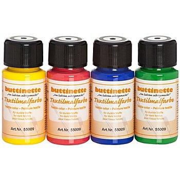 buttinette Stoffmalfarben-Set 'Grundfarben', für dunkle Stoffe, 4x 50ml