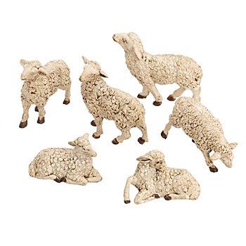 Moutons, blanc/marron, 4 - 5,5 cm, 6 pièces