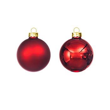 Weihnachtskugeln aus Glas, rot, 6 cm Ø, 12 Stück