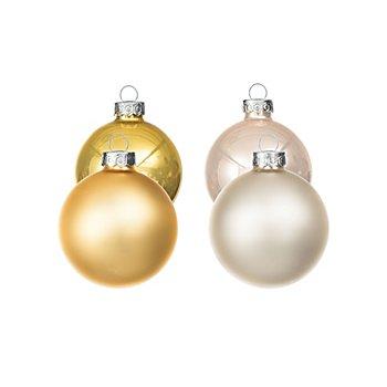 Weihnachtskugeln aus Glas, gold-creme, 6 cm Ø, 12 Stück