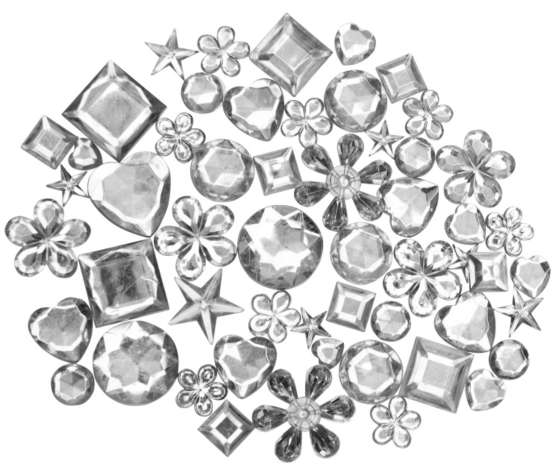 220 Stück in 6 Größen Strass-Steine Acryl-Diamanten ca Schmucksteine klar