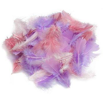Echte Federn, rosé-altrosa-flieder, 20 g = ca. 160–170 Federn
