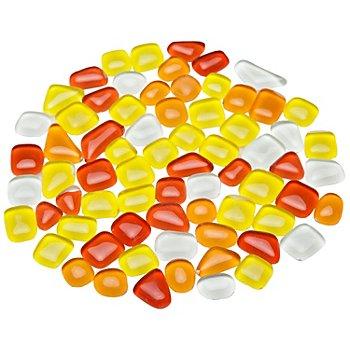 Tesselles en verre doux, tons rouge/jaune, forme polygonale, 10 - 20 mm, 200 g