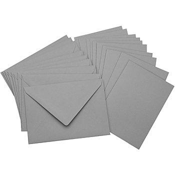 Doppelkarten & Hüllen, grau, A6 / C6, je 10 Stück