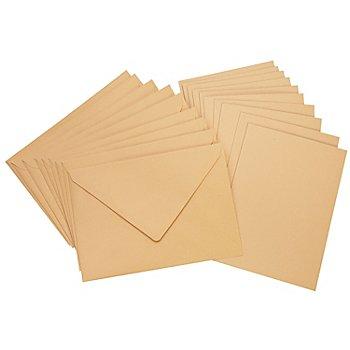 Doppelkarten & Hüllen, sand, A6 / C6, je 10 Stück