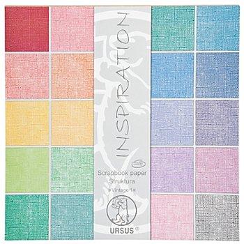 Ursus Bloc de papier scrapbooking 'Structura', tons pastel, 30,5 x 30,5 cm, 20 feuilles