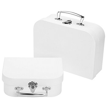 Deko-Koffer-Set, weiß, 2 Stück
