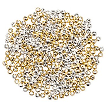 Rundperlen, gold-silber, 2 mm Ø, 400 Stück