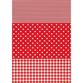 Papier Décopatch 'carreaux, pois, uni' , rouge, 39 x 30 cm, 3 feuilles