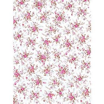 Papier Décopatch petites roses/fond blanc, 39 x 30 cm, 3 feuilles