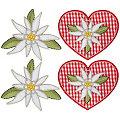 """buttinette Motifs à coudre et à repasser """"edelweiss"""" , 5 - 6,5 cm, 4 pcs."""