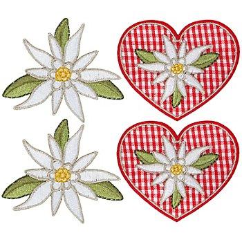 buttinette Motifs à coudre et à repasser 'edelweiss', 5 - 6,5 cm, 4 pcs.