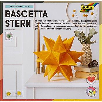 Folia Papier transparent à plier 'étoile Bascetta', jaune/or, 20 x 20 cm, 32 feuilles