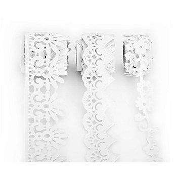 Folia Samtbordüren-Set, weiß, 15 - 35 mm, 3x 1 m