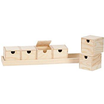 Boîtes sur plateau en bois, 6 boîtes