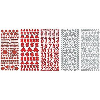 Set stickers à relief 'Noël', rouge/blanc, 23 x 10 cm, 5 feuilles