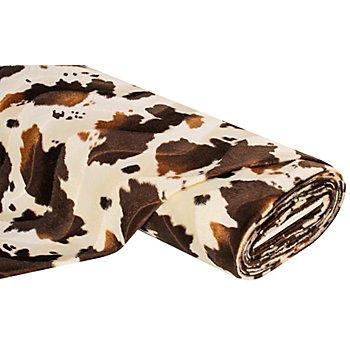 Tissu imitation fourrure 'vache', marron/écru
